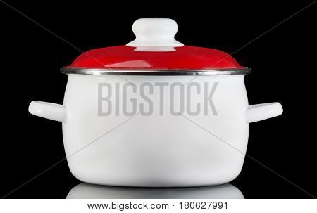 White saucepan with reflection, isolated on black background.