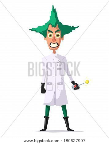 Crazy scientist. Funny character. Cartoon vector illustration. Mad professor. Science experiment. Remote controller. Doctor evil. Bad man