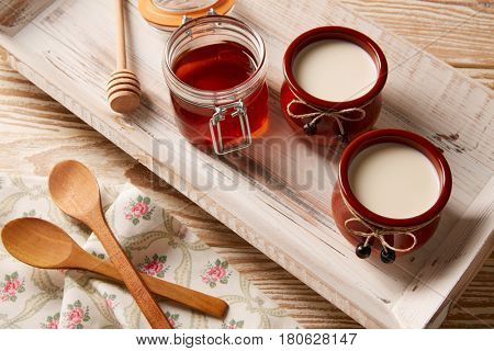 Curd dairy dessert with honey in white wooden tray