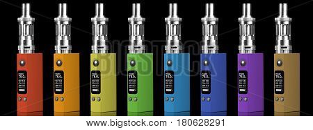 Eight multicolored electronic cigarettes - isolated on black background.