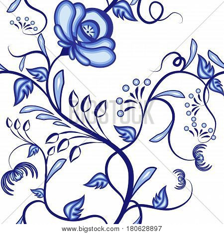 Seamless floral pattern. Background of blue abstract intertwining plants in the national style of painting on porcelain. Vector illustration.