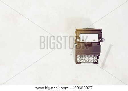 3d Rendering : illustration of vintage typewriter and ceramic cup coffee latte art on the wooden background. ancient picture background. rolled white paper tree decor. comic halftone picture style