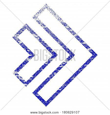 Direction Right grunge textured icon. Flat style with dust texture. Corroded vector blue rubber seal stamp style. Designed for overlay watermark stamp elements with grainy design.
