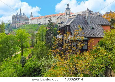 View of St. Barbara Cathedral and Jesuit College in Kutna Hora, Czech Republic