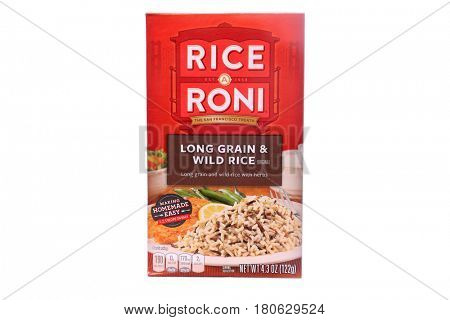 LAKE FOREST, CA - April 6, 2017: 4.3 ounce box of Rice A Roni brand Long Grain and Wild Rice. Tender Long Grain and Wild Rice with Herbs. The San Francisco Treat.  Isolated on white. Editorial design.