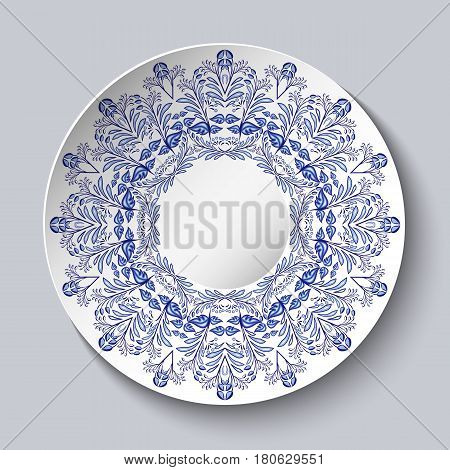 Porcelain plate with a blue floral design. Imitation of Chinese or Russian porcelain painting. Vector illustration