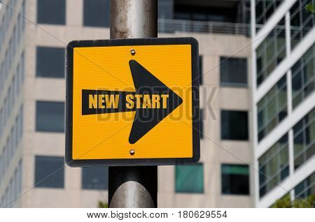 Directional Sign With Conceptual Message New Start