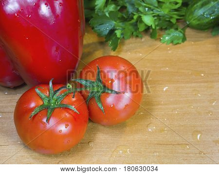 The fresh vegetables on the wet table