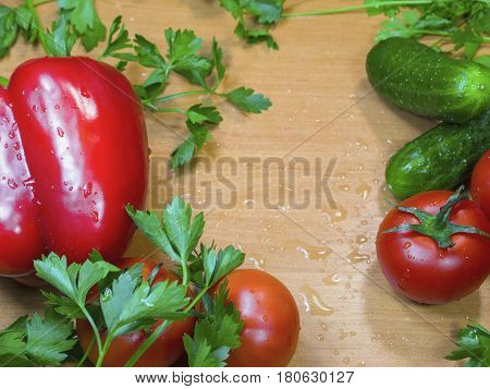 Fresh bulgarian peppe vegetables and herbs on the table