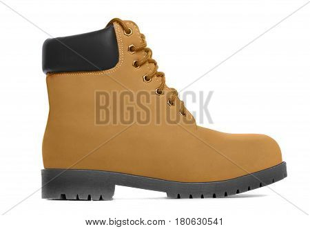 Brown boot. Side view. Isolated on white background