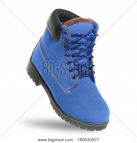 Blue boot. Angle view. Isolated on white background