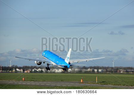 Amsterdam the Netherlands - April 7th 2017: PH-BQI KLM Royal Dutch Airlines Boeing 777-200 takeoff from Polderbaan runway Amsterdam Airport Schiphol