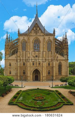 St Barbara Cathedral in Kutna Hora Czech Republic. One of the most famous Gothic churches in central Europe UNESCO World Heritage Site.