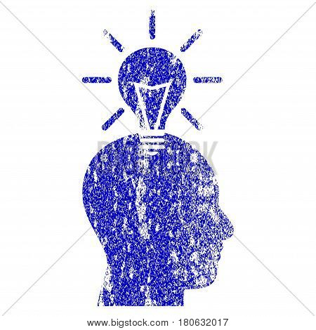 Genius Bulb grunge textured icon. Flat style with dirty texture. Corroded vector blue rubber seal stamp style. Designed for overlay watermark stamp elements with grainy design.