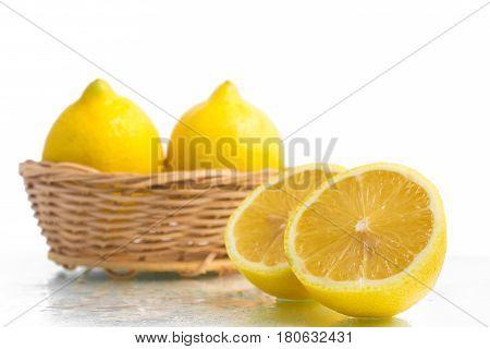 Yellow Sicilians Lemon Into A Basket