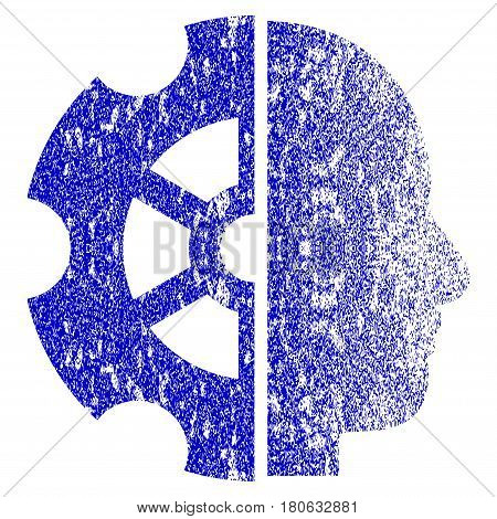 Intellect grunge textured icon. Flat style with scratched texture. Corroded vector blue rubber seal stamp style. Designed for overlay watermark stamp elements with grainy design.