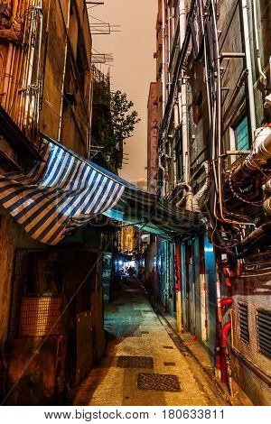 Backstreet In Kowloon, Hong Kong, At Night