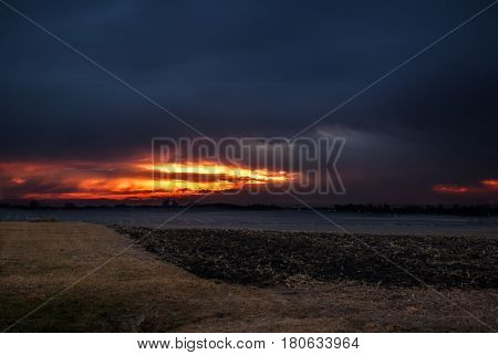 Iowa corn field illumintated by an amazing sunrise