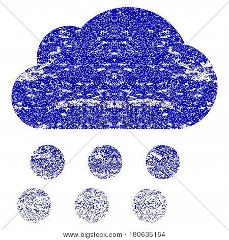 Rain Cloud grunge textured icon. Flat style with scratched texture. Corroded vector blue rubber seal stamp style. Designed for overlay watermark stamp elements with grainy design.