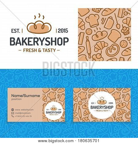 Bakery shop set with baking pattern, card and logo consisting of bread, sign fresh and tasty for identity loaf store, food market, baking firm, coffee shop, cafe etc. Vector Illustration