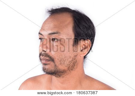 Closeup of face man bald head on white background