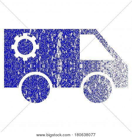 Service Car grunge textured icon. Flat style with dust texture. Corroded vector blue rubber seal stamp style. Designed for overlay watermark stamp elements with grainy design.