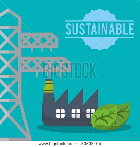 sustainable tower electric factory eco vector illustration eps 10