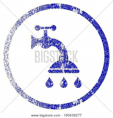 Shower Tap grunge textured icon. Flat style with unclean texture. Corroded vector blue rubber seal stamp style. Designed for overlay watermark stamp elements with grainy design.