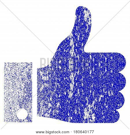 Thumb Up grunge textured icon. Flat style with unclean texture. Corroded vector blue rubber seal stamp style. Designed for overlay watermark stamp elements with grainy design.