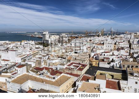 View of the historic center of Cadiz from the observation deck take in Cadiz Andalusia Spain