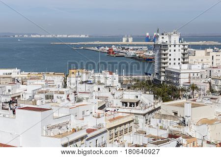 View of the historic center and port of Cadiz from the observation deck take in Cadiz Andalusia Spain