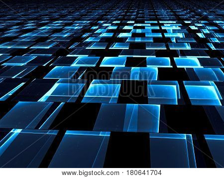 Dark sci-fi or technology background - abstract computer-generated image. Fractal art: rectangles like floor made of glass tiles with light effects. For banners, web design, desktop wallpaper.