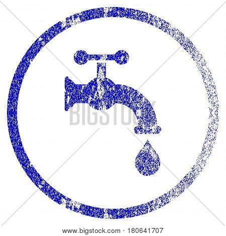 Water Tap grunge textured icon. Flat style with scratched texture. Corroded vector blue rubber seal stamp style. Designed for overlay watermark stamp elements with grainy design.