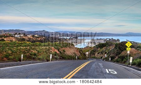 Road Leading Down To Dana Point Harbor