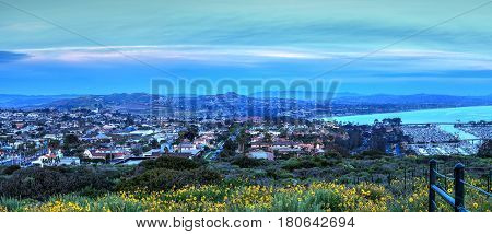Hiking Trail Above Dana Point Harbor At Sunset