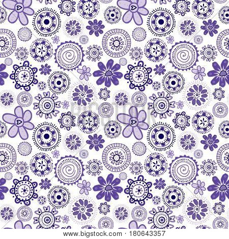 Mauve seamless background with stylized doodle flowers