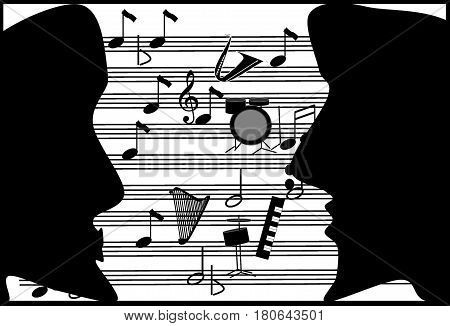 Musical romance. Song of love and about love.Portrait of lovers on the background of a musical note.