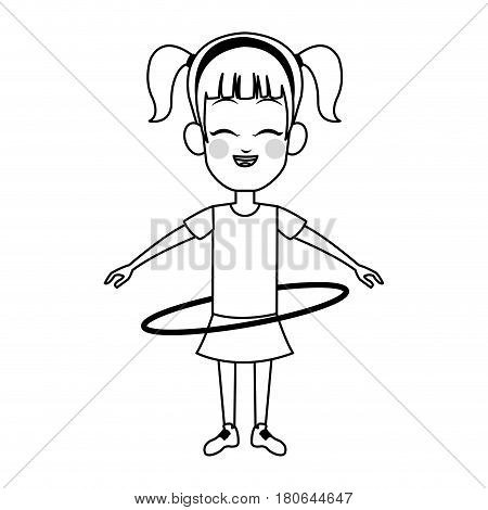 girl with hula hoop, cartoon icon over white background. vector illustration