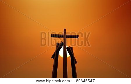 Tree crosses on sunset Religious Concepts with copy space