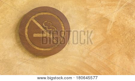 No smoking sign in wood panel. Over the yellow grunge texture wall