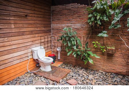 View of a wildlife-style restroom in the guesthouse of Khao Sok sanctuary Thailand