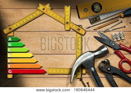 Home improvement concept - Wooden ruler in the shape of a house with energy efficiency rating on a wooden work table with work tools