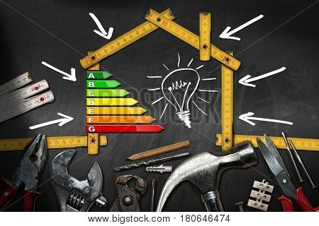Home improvement concept - Wooden ruler in the shape of a house with energy efficiency rating on a blackboard with work tools and a light bulb