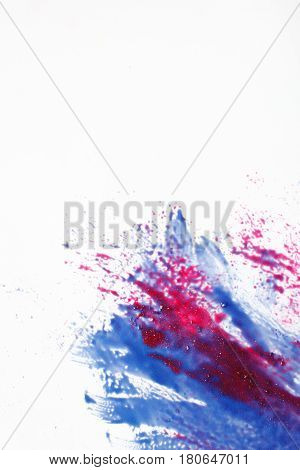 Abstract modern art, creativity, color mix painting. Abstractionism, blue and red splashes mix on white background.