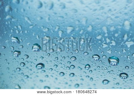 Rainy Season Humidity Water Wet Moisture, Water Drop Background Blue Color Tone.