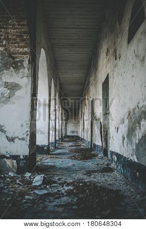 Corridor old building. Long corridor with doors in the old building