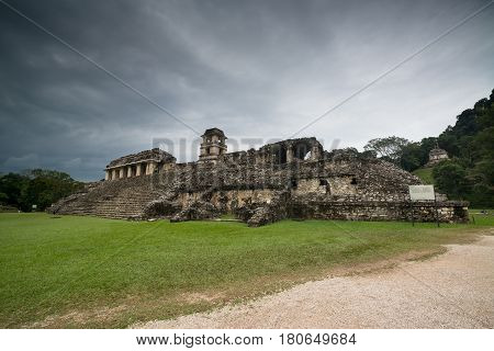 Palenque ruins, Maya archeological site in Mexico