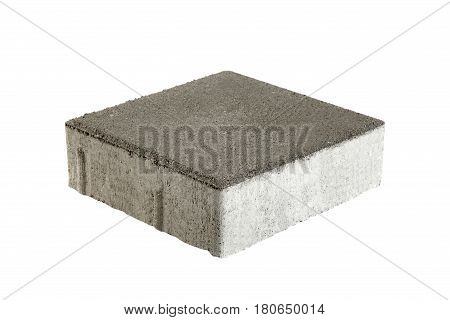 Single pavement brick isolated. Concrete block for paving