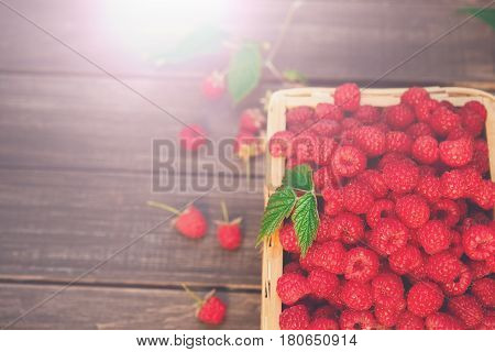 Wicker basket full of raspberries top view on wooden table background. Summer berry harvest, copy space