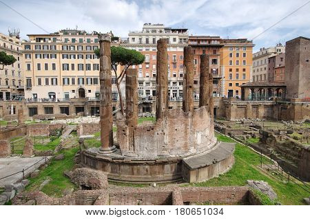ROME ITALY - MARCH 23 2017: ancient Roman temples in Largo di Torre Argentina the circular one with six columns remaining was built by Quintus Lutatius Catulus in 101 BC